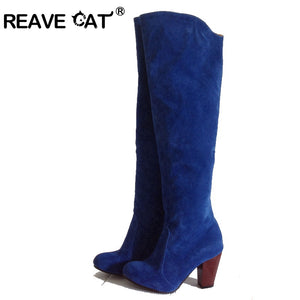 REAVE CAT Winter boots Plus size 34-43 Women shoes High heels Women knee boots Flock Velvet Pointed toe Black Red Grey RH168