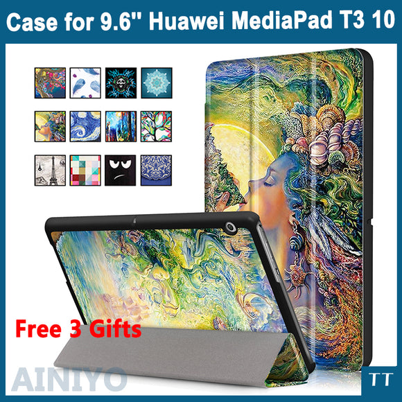 Case For Huawei MediaPad T3 10 AGS-L09 AGS-L03 9.6 inch Cover Tablet for Honor Play Pad 2 9.6 Slim Flip PU Case+Film+Pen