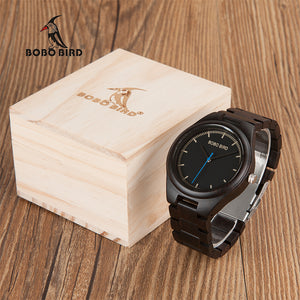 BOBO BIRD CdO03 Blue Second Hand Antique Mens Popular Wooden Watch Male Casual Uomo Orologio Watches in Gift Box