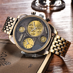 Oulm Luxury Brand Men Full Steel Quartz Watch Golden Big Size Men's Watches Antique Military Watch Male Relogio Masculino