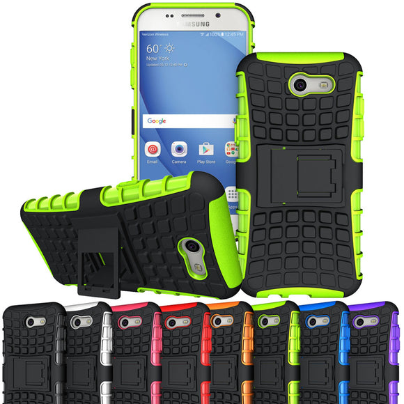 Dual Layer Armor Case PC+Silicone Shockproof Cover With Kickstand For Samsung Galaxy J3 Emerge/J3 2017/J3 Eclipse/J3 Mission @