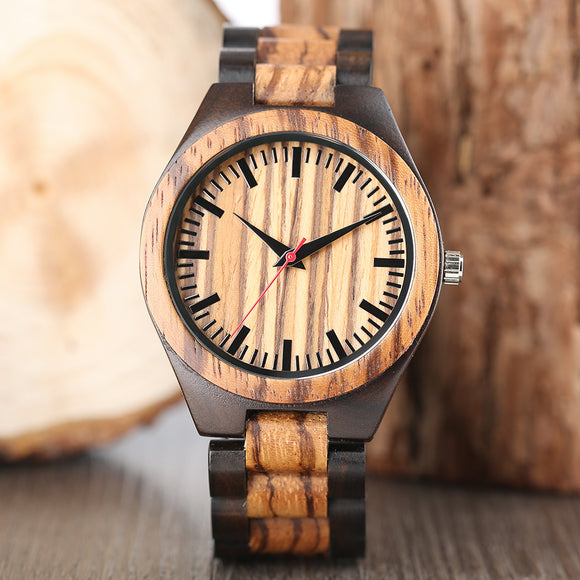 Wooden Watches 2017 Men Stripe Dapple Pattern Bamboo Strap Quartz Watch Nature Wood Creative Sport Fashion Clock for Male Gifts
