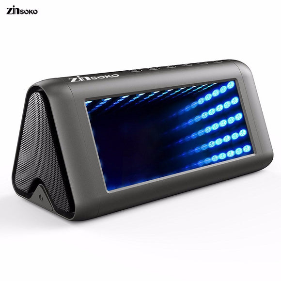 Zinsoko BS-1025 Bluetooth Speaker Portable Wireless loudspeaker 3D Mirro 16W Super Bass LED Light Handfree With Mic for Phone