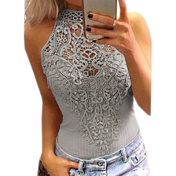 Body Lace Summer Playsuit Bodycon Sleeveless Patchwork Sexy Bodysuit Feminino 2017 New Women Rompers Hollow Out Overalls GV777