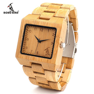BOBO BIRD LdL22 Fashion Men Square Bamboo Wooden Watches with BOBO BIRD Pattern on the Dial Face Uomo Orologio in paper box