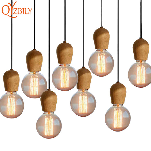 Nordic Retro Pendant Lights Oak Wood E27 Black Wire Vintage Loft Pendant Lamp Home Lighting Living Room Luminaire Abajur Lustre