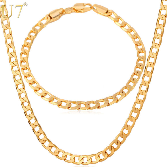 U7 Necklace Set Trendy Party Gold/Rose Color Cuban Link Chain Necklace Bracelet Men Jewelry Set S550