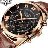 2017 LIGE Brand Mens Dress Quartz Watch Men Waterproof Fashion Casual Sports Watches Man Leather Wristwatches Relogio Masculino