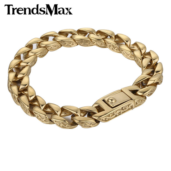 Trendsmax Mens Bracelet Gold Color 316L Stainless Steel Curb Cuban Link Chain Boys Fashion Jewelry HB324