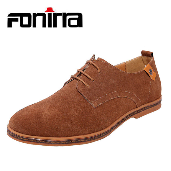 FONIRRA 2017 New Men's Genuine Leather Casual Shoes Men Spring Autumn Men's Shoes Lace-Up Solid Men Flat with Shoes 046
