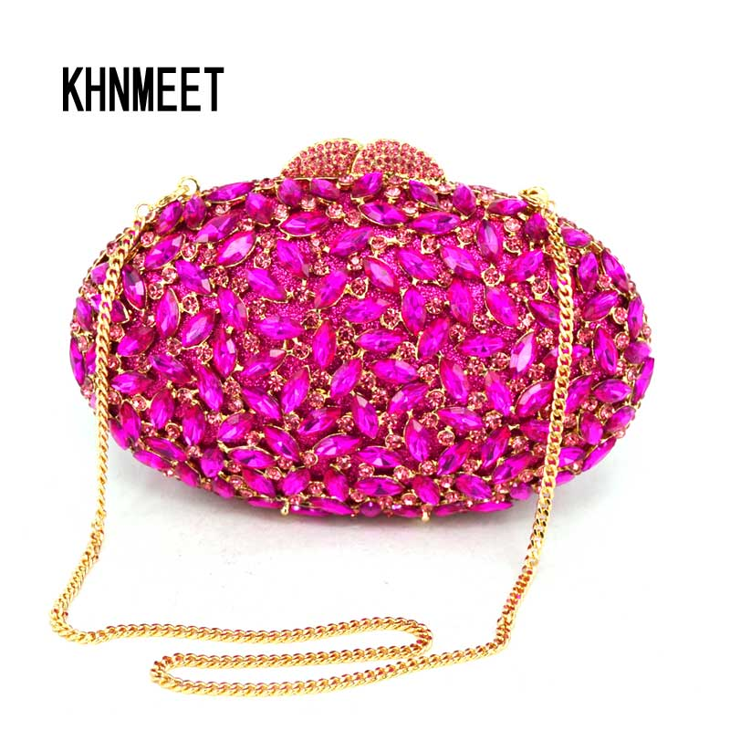 b728605fec oval luxury evening clutch bags red Handcraft crystal clutch purse golden  diamante women party evening bags ...