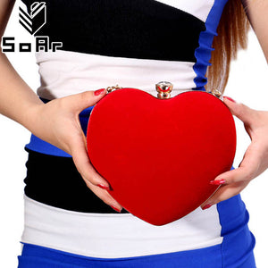 SoAr Luxury Women Evening Bags Handbag Red Heart Ladies Clutch Female Bags Party Wallet Women Messenger Shoulder Bags Chains 3