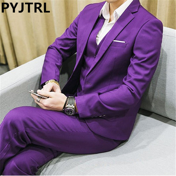 PYJTRL Men's Three-piece Plus Size 5XL 6XL 2017 White Yellow Red Purple Navy Blue Green Male Business Casual Wedding Groom Suits