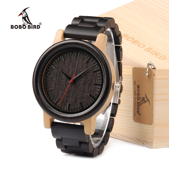 BOBO BIRD M18 Ebony Wood And Bamboo Watch Analog Men Wristwatch With Japan Movement Customized For Gift