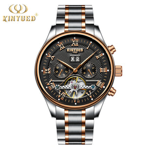 KINYUED Skeleton Automatic Watch Men Waterproof Flying Tourbillon Mechanical Watches Mens Self Winding Horloges Mannen