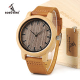 BOBO BIRD Men's Top Brand Luxury Wood Bamboo Watches With Real Leather Bands in Gift Box relogio masculino relojes mujer