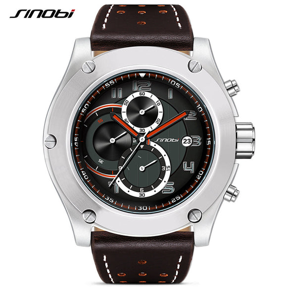 2017 SINOBI New Chronograph Date Waterproof Leather Good Design Big Dial Sports Reloj Watch Men Geneva Military Quartz Clock