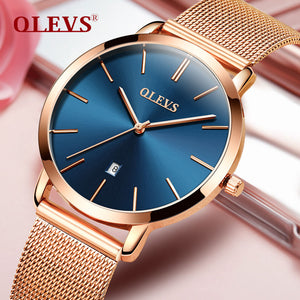 2017 OLEVS Brand Watches Women's Quartz Fashion Casual Business Watch Full Steel Female Clock 30m Waterproof Date Wristwatches