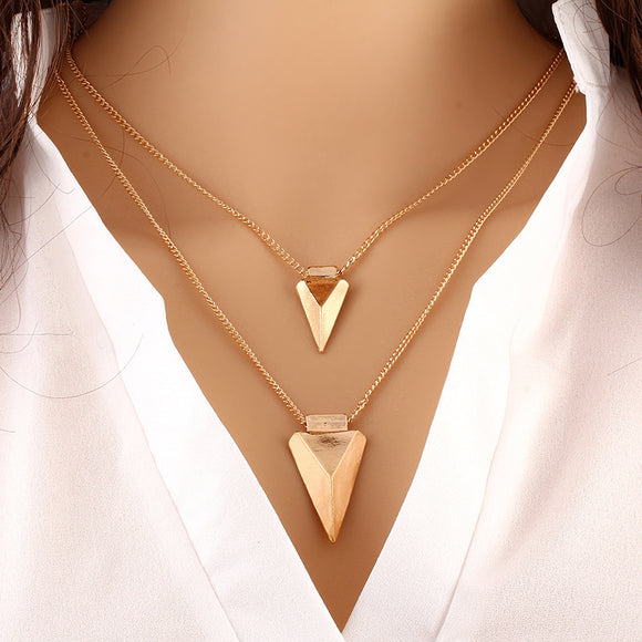 Double Triangle Pendants Necklaces Women Gold Color Link Chain Statement Necklace Charm Jewelry Accessories Choker