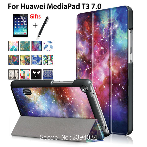 PU Leather fashion Case for Huawei MediaPad T3 7.0 BG2-W09 Smart Cover Stand Funda Tablet for Honor Play Pad 2 7.0 +Film+Pen