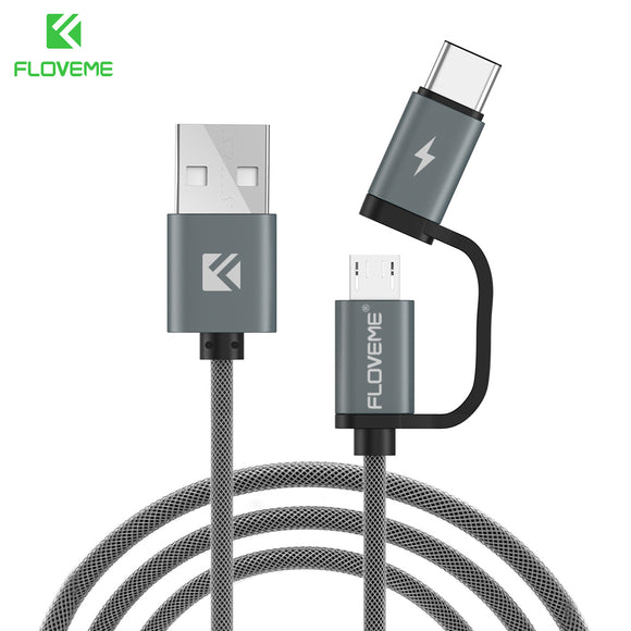 FLOVEME USB Cable QC 3.0 Micro USB Type C Cable Fast Charging 2in1 Type-C Cables For Samsung S8 S7 Huawei P10 Meizu Pro 7 Phone