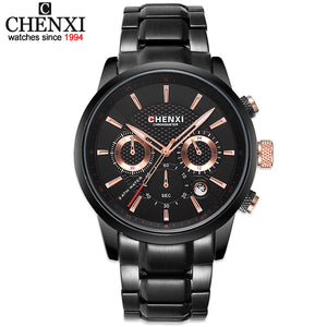 CHENXI Men New Watches Man Business Stainless Steel Quartz watch Fashion Multifunction Military Clock Relogio Masculino Gift