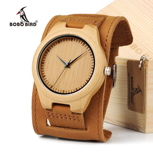 BOBO BIRD Men Watch Natural Bamboo Japanese Quartz Wooden Dial Wide Genuine Leather Band Wrist Watch Brown With Gift Box