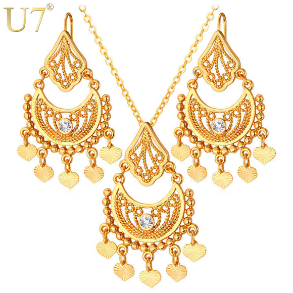 U7 Tassels Moon Drop Earrings And Maxi Necklace Sets Gold/Silver Color Vintage Indian Costume Ethnic Jewelry Set For Women S624