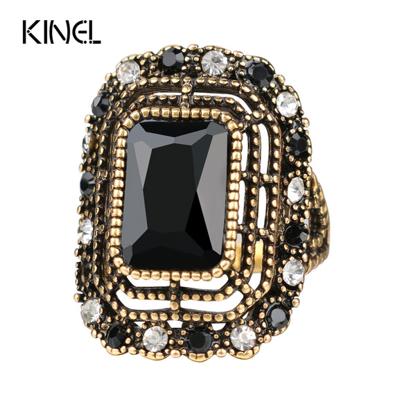 2016 Fashion Green Ring Tibet Alloy Color Gold Mosaic Resin Crystal Bijoux Femme Rings For Women