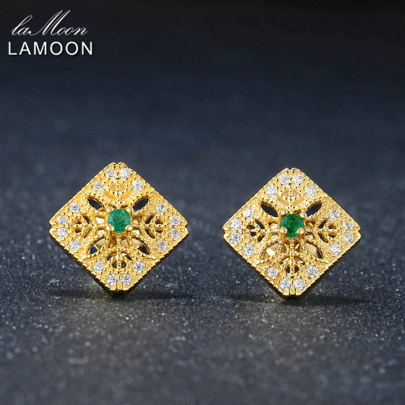 LAMOON Exquisite Hollow 0.06ct 100% Natural Emerald 925 sterling-silver-jewelry Stud Earring S925 LMEI039
