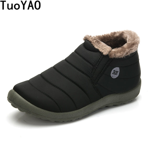 HOT Sale Autumn Winter Casual Snow Boots Men Waterproof Ankle Boots Flat Slip-Resistant Fashion Man Winter Shoes Big Size 48