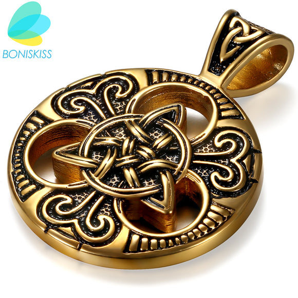 Boniskiss 2017 Fashion Retro Gold Stainless Steel Necklace Women Jewelry Ethnic Celtic Knot Men's Pendants Necklaces