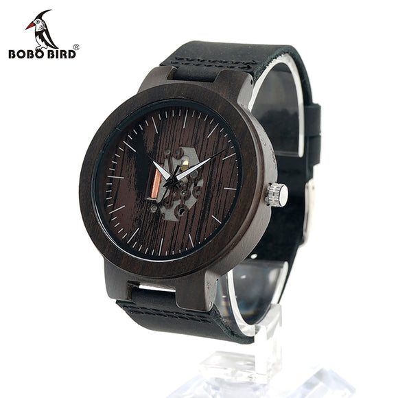 BOBO BIRD CbH30 Black Mens Exposed Movement Watches Top Brand Ebony Clocks With Soft Leather Band Accept OEM