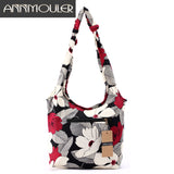 Annmouler Vintage Women Messenger Bag Cotton Fabric Shoulder Bag Bohemian Chic Hobo Bag Gypsy Bag Travel Tote Sling Handbag
