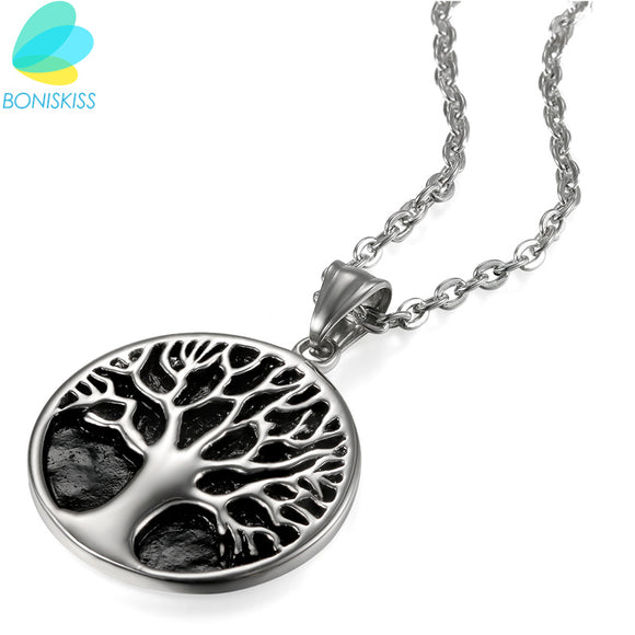Boniskiss Life Tree Pendant Stainless Steel Necklace For Women & Men Fashion Classic Necklaces Metal Plants Fine Jewelry
