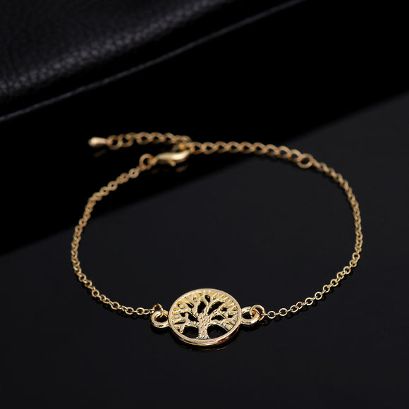 Shuangsho Fashion Link Chain Tree of Life Charm Bracelet for Women Simple Tree Men Bracelets Bangles Party Gift