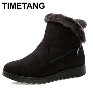 TIMETANG Women Ankle Boots for Rabbit Fur New Fashion Waterproof Wedge Platform Winter Warm Snow Boots Shoes For Female