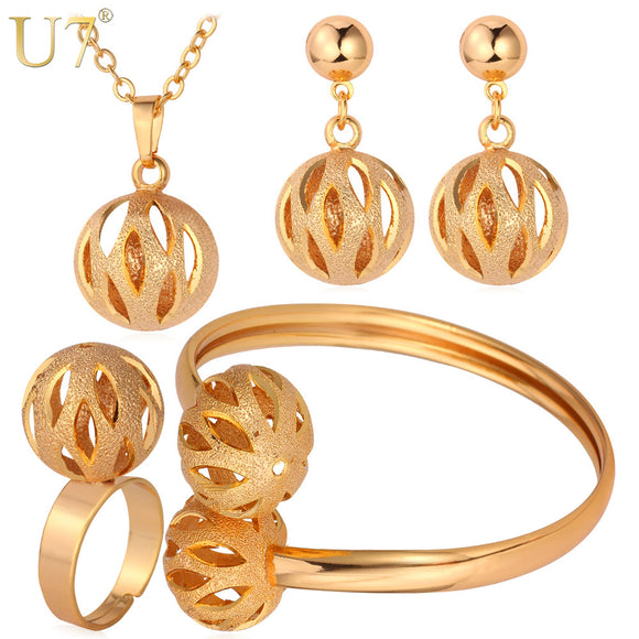 U7 Unique Design Ball Pendant Set Gold/Silver Color Trendy Party Bridal Jewelry Sets For Women S579