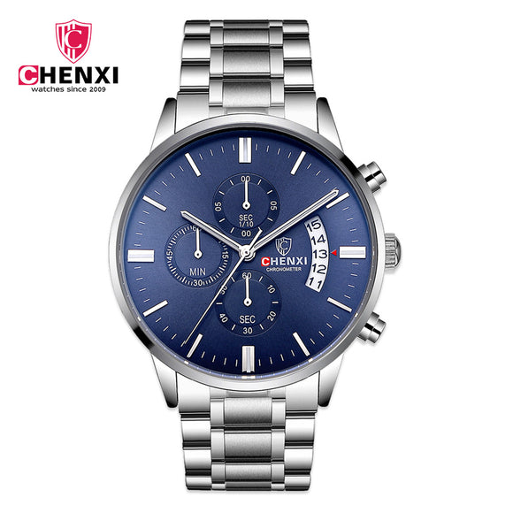 2017 Silver Men's Casual Watches Luxury Brand CHENXI Stainless Steel Multi Function Sport Casual Business Quartz Male Clocks