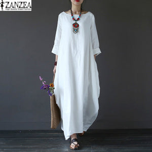 2017 ZANZEA Womens Crewneck 3/4 Sleeve Baggy Maxi Long Casual Loose Party Shirt Dress Kaftan Linen Solid Robe Vestido Plus Size