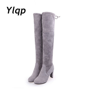 Women Scrub Leather Thigh High Boots Over The Knee Boot Sexy Overknee High Heels Woman Shoes Black Gray botas zapatos mujer