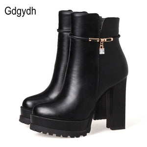 Gdgydh Fashion Crystal Ankle Boot For Women Leather Party Shoes 2017 New Autumn Winter High Heels Shoes Platform Big Size 43