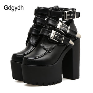 Gdgydh Fashion Buckle Martin Boots Women Soft Leather Autumn Black Ladies Ankle Boots Ultra High Heels Shoes Platform 2017 New