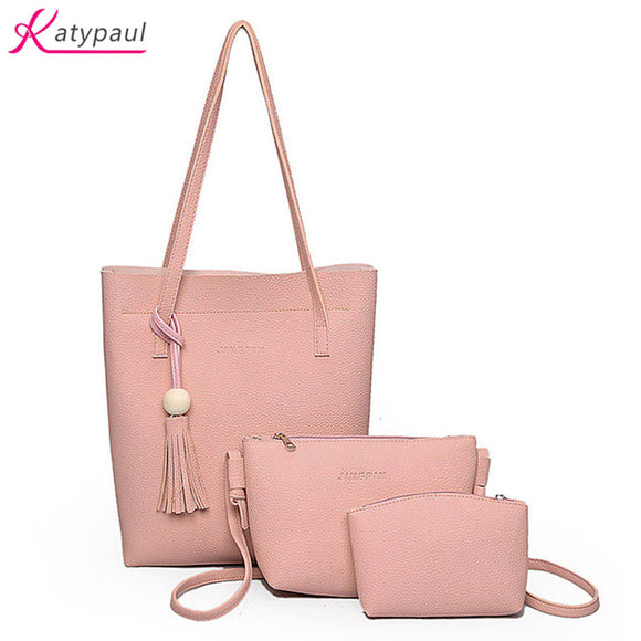 Women Bag Famous Brands KatyPaul Fashion Brown Women Messenger Bags Handbags Sets PU Leather Beach Composite Bags Bolsa Feminina