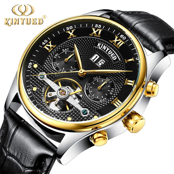 KINYUED Mechanical Watches Tourbillon Genuine Leather Skeleton Automatic Watch Men Perpetual Calendar Horloges Mannen Relogios