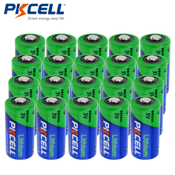 20pcs*PKCELL CR123A CR123 CR 123 123A 16340 CR17345 17345 1500mAh 3V Lithium Photo Battery
