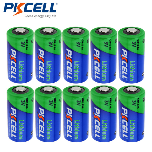 10pcs PKCELL 3V 16340 CR123A Li-ion Battery Real Capacity 1500mAh Lithium Battery for LED Flashlight Headlamp Camera