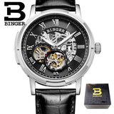 Mechanical Luxury Skeleton Watches BINGER Automatic Watch Relogio Male Montre Watch Mens Relojes 3ATM Stainless Steel Strap