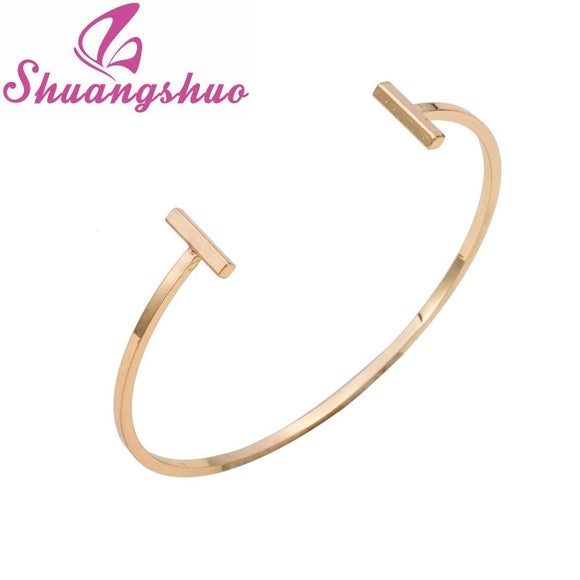 Shuangshuo Fashion Jewelry Open Double Bar Bangles for Women Simple Adjustable Love Bangle Viking Bracelet Femme pulseiras SZ005