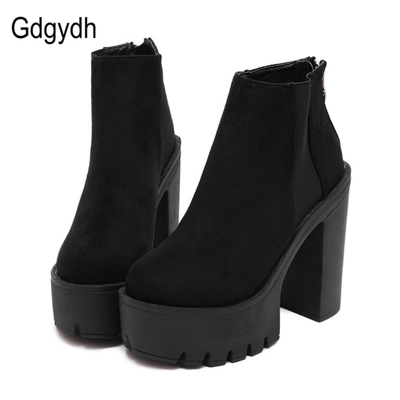 Gdgydh Fashion Black Ankle Boots For Women Thick Heels 2017 New Autumn Flock Platform Shoes High Heels Black Zipper Ladies Boots